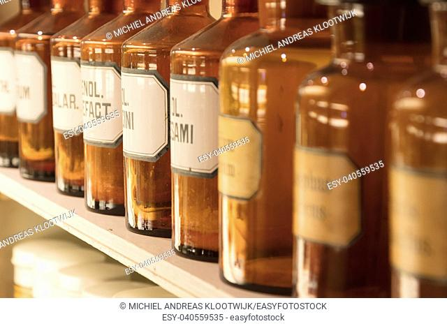 Glass bottles filled with chemicals - Vintage apothecary