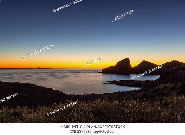 Sunset along the shoreline at Himalaya Beach, Sonora, Mexico