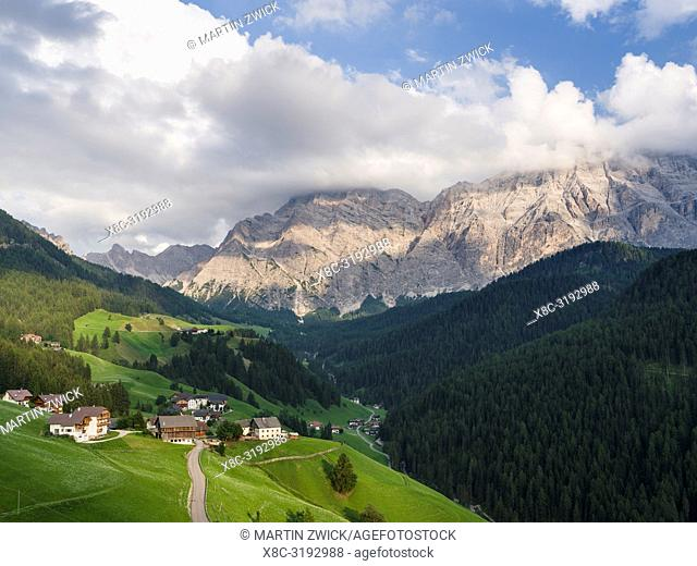 Wengen - La Valle, traditional farms of the Viles (hamlets) in the Val Badia in the Dolomites of South Tyrol, Alto Adige