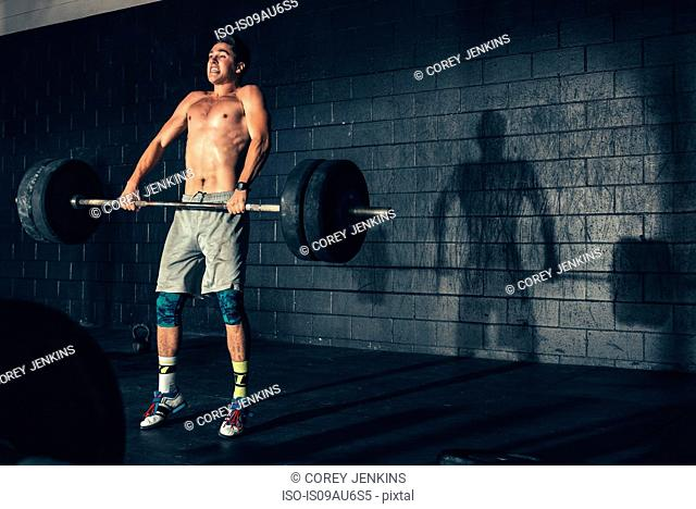 Man weight training lifting barbell in gym