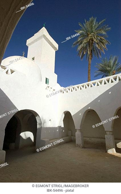 White mosque in the historic center of Ghadames, Ghadamis