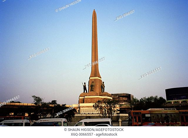 The obelisk Victory Monument in Ratchathewi district in Bangkok in Thailand in Southeast Asia Far East