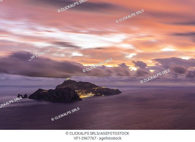 Capri, Napoli, Campania, Italy. Capri island at sunset