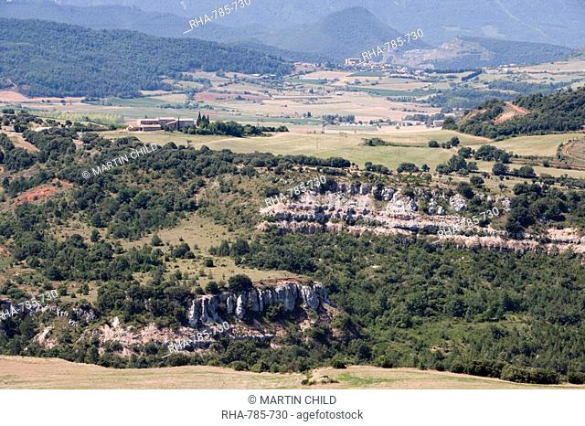 View of landscape from Rennes-le Chateau, Aude, Languedoc-Roussillon, France, Europe