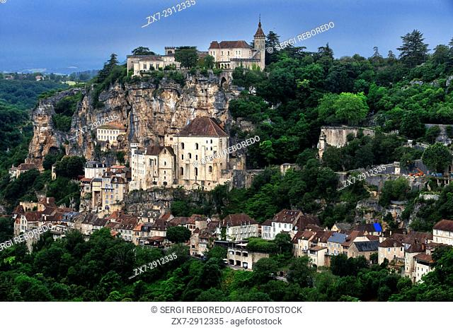View over Medieval town of Rocamadour, Lot Department, Midi-Pyrenees, France