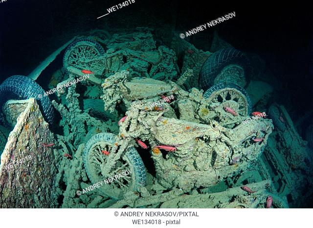 "motorcycle """"Norton 16H"""" on shipwreck SS Thistlegorm (British armed Merchant Navy ship), Red Sea, Egypt"