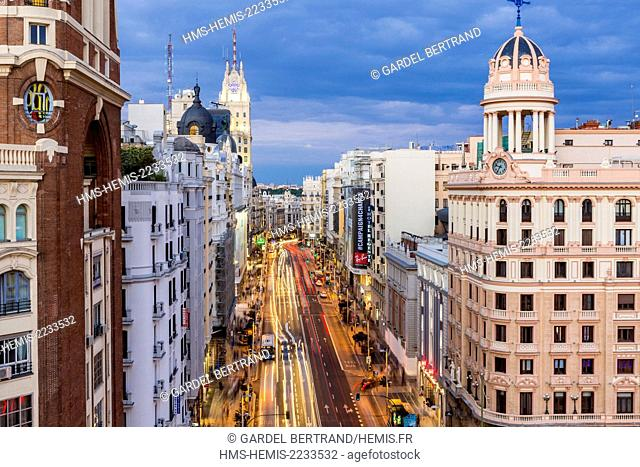 Spain, Madrid, La Latina district overlooking the Gran Via