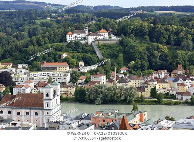 Passau, D-Passau, Danube, Inn, Ilz, panoramic view with Inn and old town, Monastery Niedernburg with tomb of the Blessed Gisella