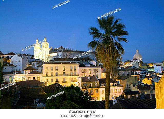 Portugal, Lisbon, Alfama Miraduro Santa Luzia panoramic view ,| Portugal Lissabon Blick ueber Alfama vom Miradouro da Santa Luzia