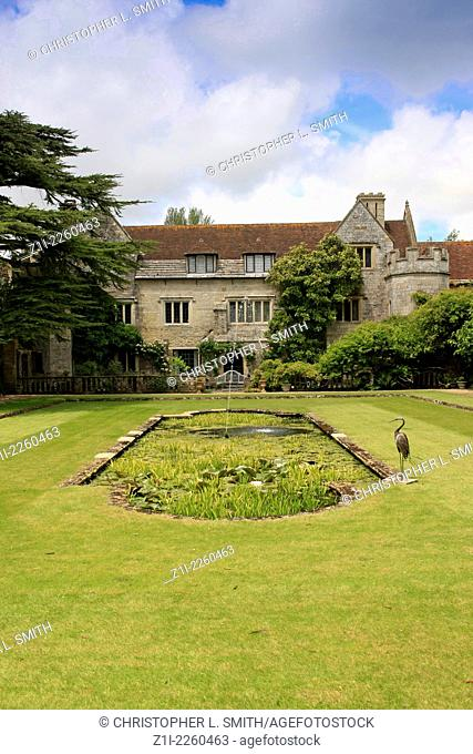 The gardens and water features Athelhampton House in Dorset