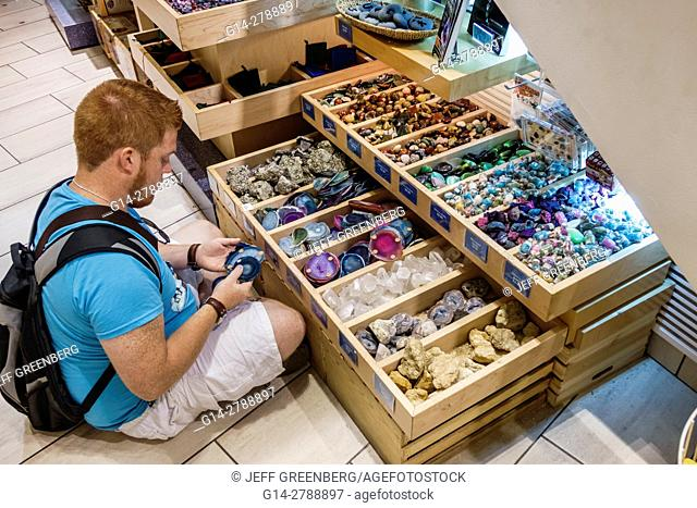 New York, New York City, NYC, Manhattan, Upper West Side, American Museum of Natural History, shopping, store, souvenir, rocks, fossils, boy, teen, display