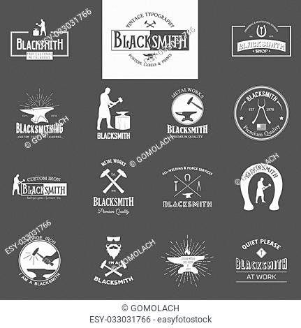 Blacksmith. Set of vintage typography posters, labels and prints. Vintage typography background, vintage typography design, vintage typography art