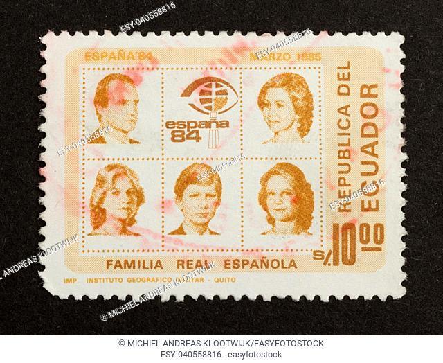 ECUADOR - 1985: Stamp printed in Ecuador shows several persons, 1985