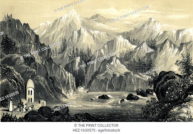 Pilgrims at the source of the Ganges, India, 1847. Illustration from The History of China and India, by Miss Corner, (Dean and Co, London, 1847)