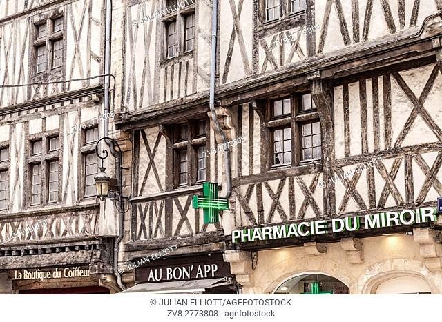An old half timbered house in old Dijon