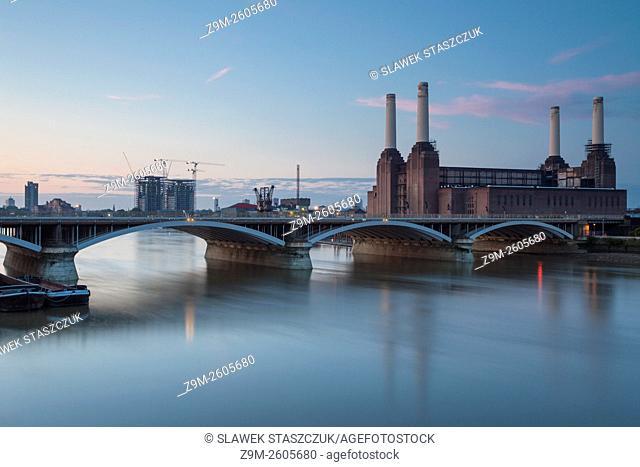 Summer dawn at Battersea Station, London, England