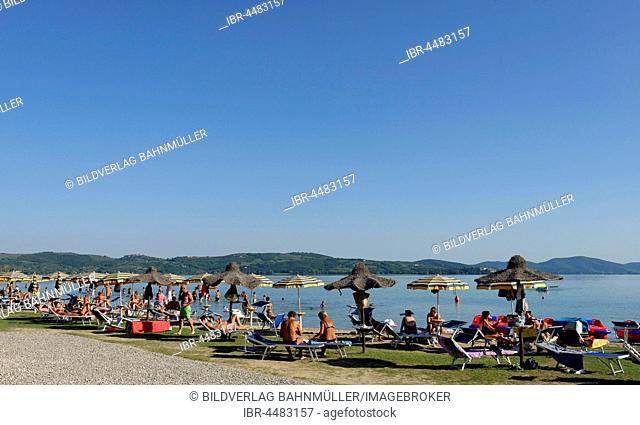 Beach at Torricella, Lake Trasimeno, eastern shore, Umbria, Italy