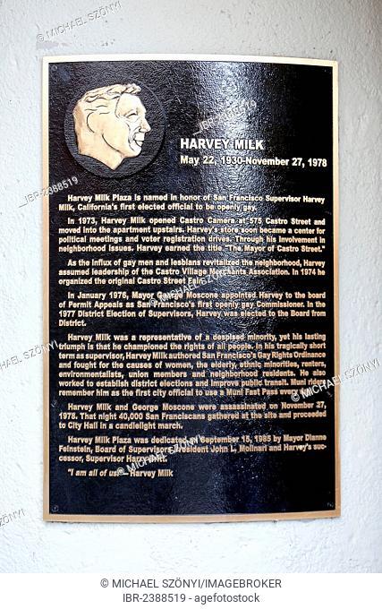 Commemorative plaque, Harvey Milk Plaza, Market and Castro district, San Francisco, California, USA