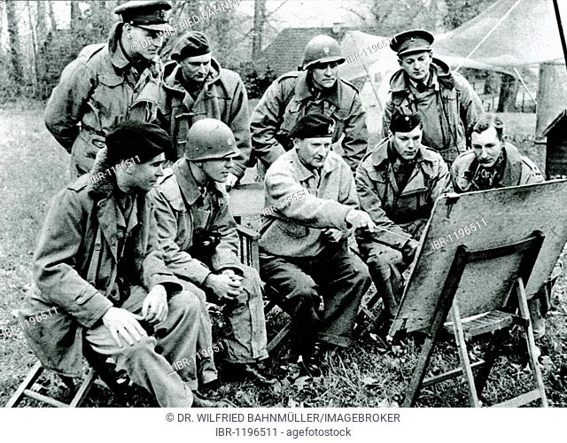 Field Marshal Bernard Montgomery with his liaison officers, historical photo, circa 1945