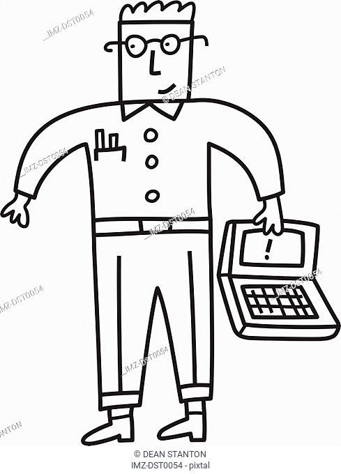 A computer technician holding a laptop