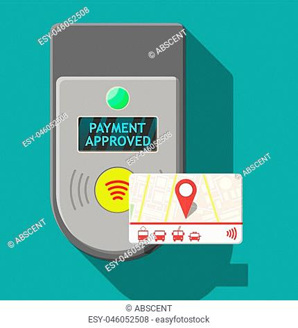 Transport card near terminal. Airport, metro, bus, subway ticket terminal validator. Wireless, contactless or cashless payments, rfid nfc