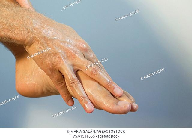 Foot massage. Close view