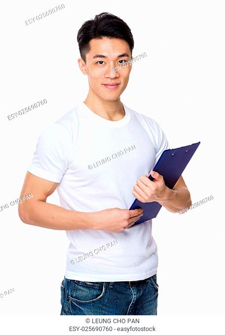 Asian man holding with clipboard