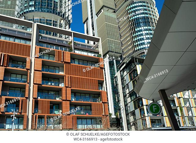 A view of modern residential buildings, office towers and restaurants along the precinct on Wulugul Walk in Barangaroo South