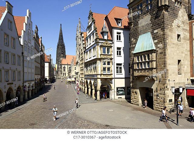 Muenster (Westfalen), D-Muenster, Westphalia, Muensterland, North Rhine-Westphalia, NRW, Prinzipal Market Place, gabled houses, arcades, townhouse tower