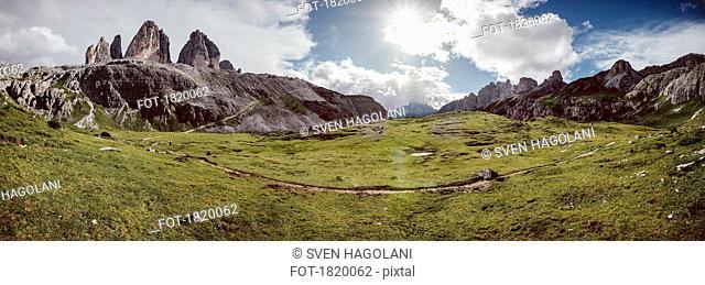 Scenic panoramic view Drei Zinnen Nature Park, Tre Cime di Lavaredo, South Tyrol, Italy