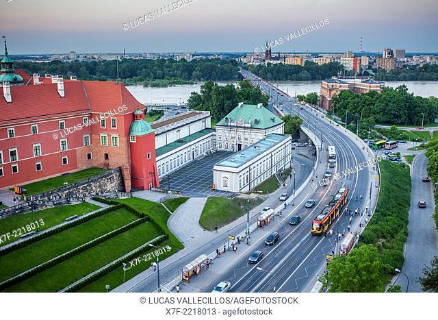 Aleja Solidarnosci street, at left The Royal Castle, in background Vistula river, Warsaw, Poland