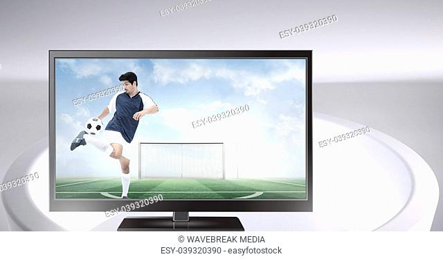 soccer player on television