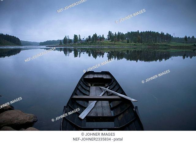 Rowing boat on lake