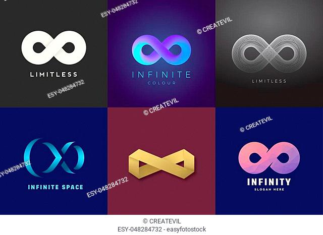 Abstract Vector Infinity Symbols Set. Modern Gradients and Typography, Soft Shadows. A Collection of Limitless Sign Logo Templates on Dark Backgrounds