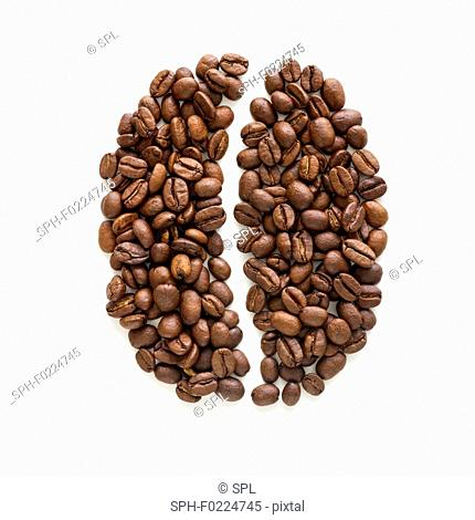 Coffee beans in coffee bean shape