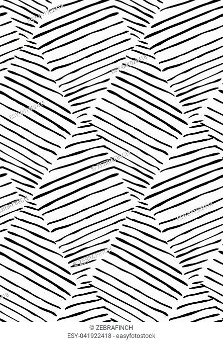Hatched diagonally diamonds on white.Hand drawn seamless background.Rough hatched pattern. Fabric design