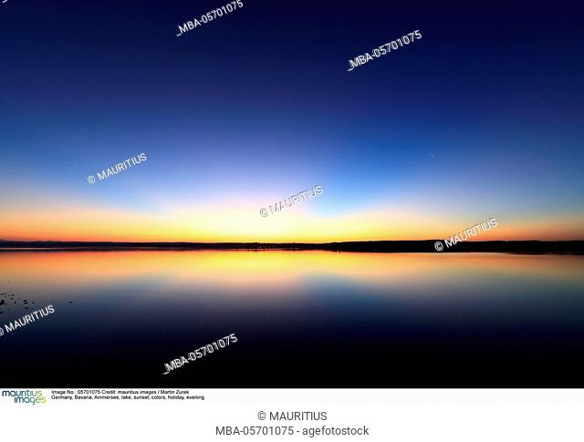 Germany, Bavaria, Ammersee, lake, sunset, colors, holiday, evening