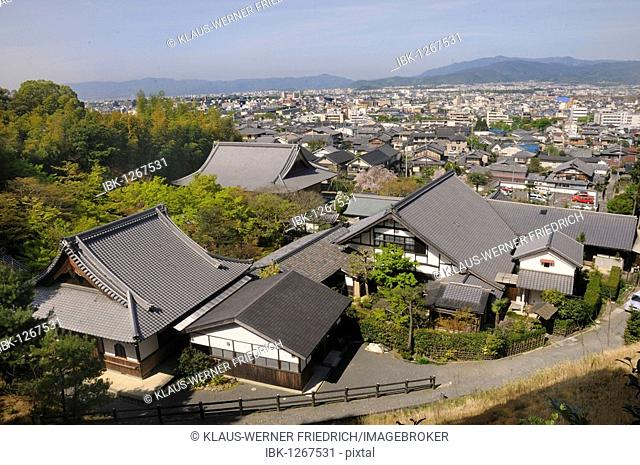 View of the Enkoji Temple and Kyoto from the mountain of the temple complex, Kyoto, Japan, East Asia, Asia