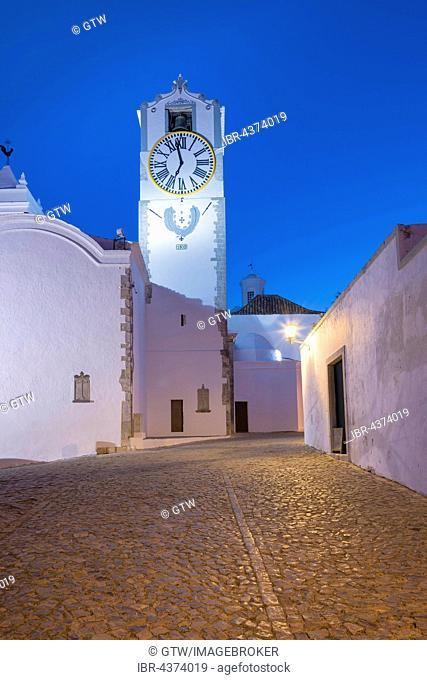Santa Maria do Castelo Church during the blue hour, Tavira, Algarve, Portugal