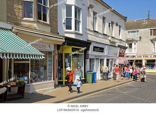 England, North Yorkshire, Filey, Shops on John Street in Filey
