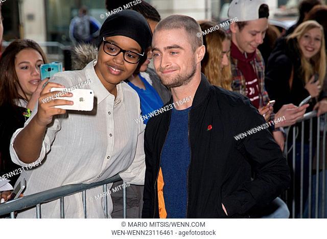 Daniel Radcliffe arriving at the BBC Radio 1 studios Featuring: Daniel Radcliffe Where: London, United Kingdom When: 04 Nov 2015 Credit: Mario Mitsis/WENN