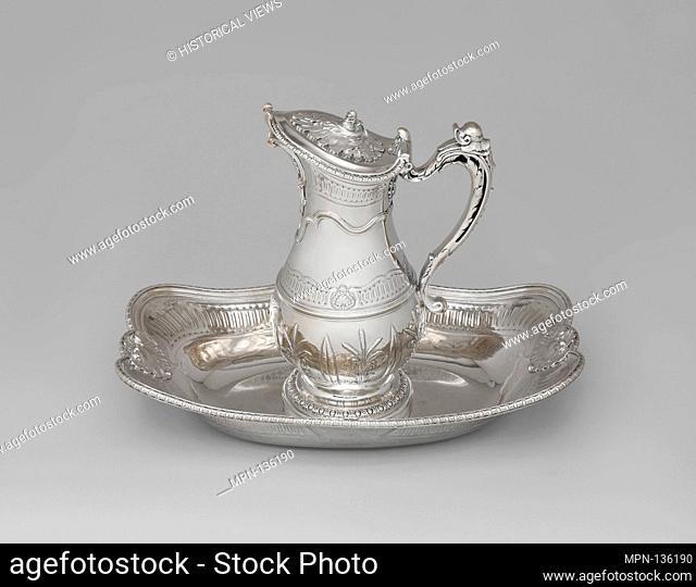 Ewer and basin. Maker: Jean Fauche (ca. 1706-1762, master 1733); Date: 1739-42; Culture: French, Paris; Medium: Silver; Dimensions: Ewer (.411): H