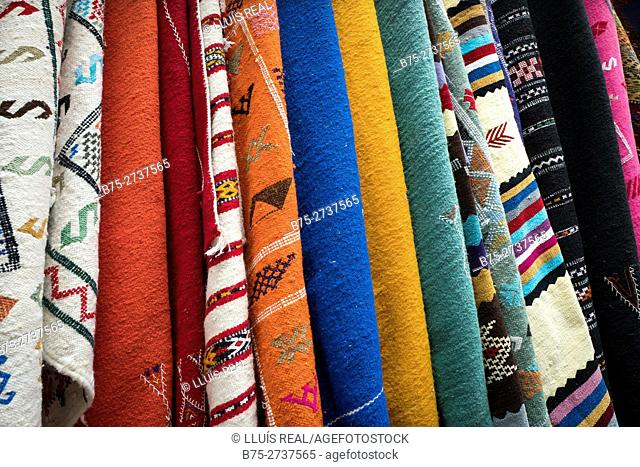 Colorful rugs. Chaouen, Tanger-Tetouan, Morocco