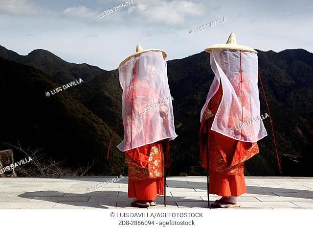 Kumano Nachi Taisha (熊野那æ. ºå¤§ç¤¾) is one of the three Kumano shrines, situated a few kilometers inland from the coastal hot spring resort of Katsuura