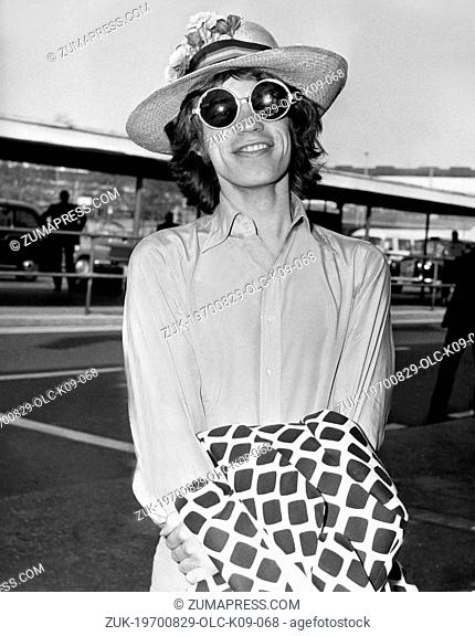 Aug. 29, 1970 - London, England, U.K. - Rolling Stones frontman MICK JAGGER pictured on Heathrow Airport. Little did the Rolling Stones know how apt their name...