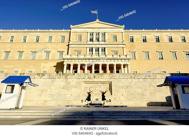 GRC , GREECE : Soldiers ( Evzones ) in front of the parliament at Syntagma Square in Athens , 03.02.2016 - Athens, Attica, Greece, 03/02/2016