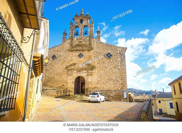 Facade of San Juan Bautista church. Villaconejos de Trabaque, Cuenca province, Castilla La Mancha, Spain