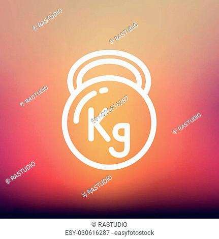 Kettlebell icon thin line for web and mobile, modern minimalistic flat design. Vector white icon on gradient mesh background