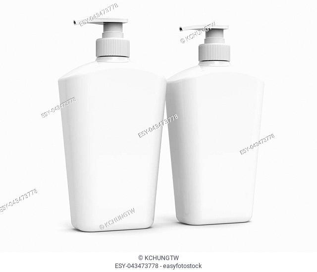 Pump dispenser bottle mockup, blank white plastic bottle in 3d rendering, body wash or hygiene products