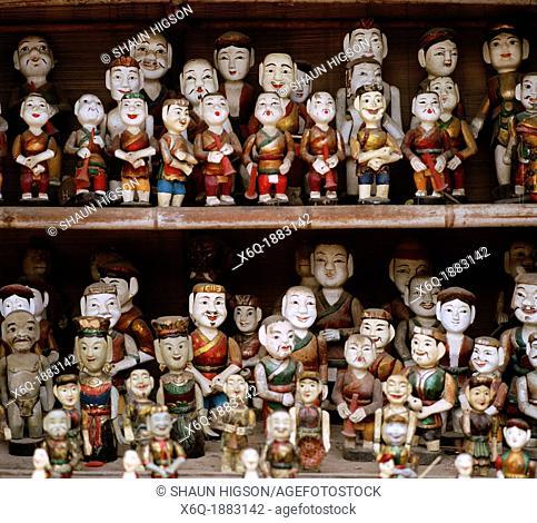 Water puppets in Hanoi in Vietnam in Southeast Asia Far East